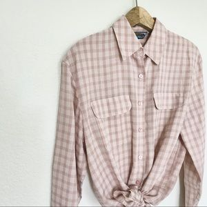 Vintage Tops - Pink Plaid Vintage Button Down Top